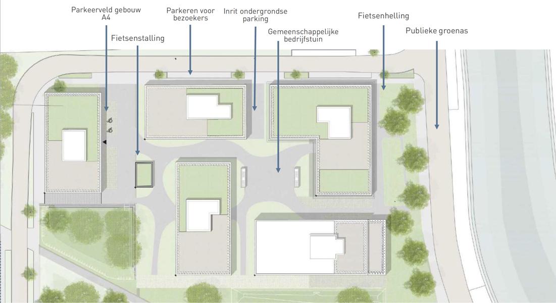 Hoogwaardige nieuwbouwkantoren (681m2) langs de Schelde en rand centrum Gent