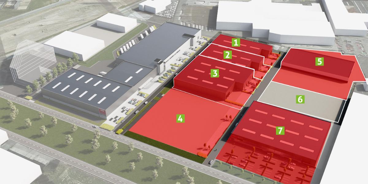 Bedrijfsgebouw (1.800m²) op voormalige Barco-site aan op- en afrit R8 Kortrijk